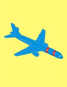 """""""Airplane sousage"""" Grafik/Illustration von Vytis Vasiliunas jetzt als Poster, Kunstdruck oder Grußkarte kaufen.."""