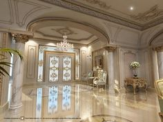 Luxurious Palaces & Villas in Dubai and around the world -Interior Design Company in Dubai -Classic Luxury Palace Entrance Designed by Grand Space Interiors Palace Interior, Mansion Interior, Luxury Homes Interior, Luxury Home Decor, Luxury Apartments, Interior Design Dubai, Interior Design Companies, Classical Interior Design, Modern Design