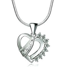 "Pugster 925 Sterling Silver Diamond Accent Open Heart Mom Pendant Necklace Love Mother 18"" Gift Pugster. $23.99. Size (mm): 17.15*3.36*21.03. Metal: Swarovski Crystal. Weight (gram): 5.9. Color: Silver. Save 20% Off!"