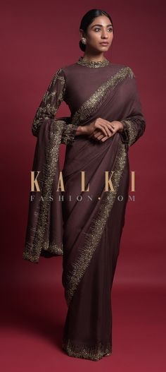 Dark brown saree fabricated in cotton silk. Accentuated with kundan, sequins and beads embroidered border. Indian Attire, Indian Wear, Indian Outfits, Designer Sarees, Designer Wear, Khada Dupatta, Classy And Fab, Asian Fashion, Women's Fashion