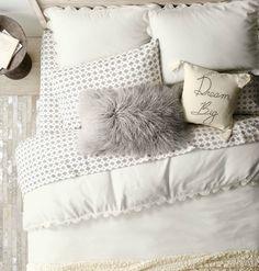 RH TEEN's Hand-Crocheted Linen-Cotton Duvet Cover:Inspired by heirloom bedding… Teen Room Decor, Bedroom Decor, Bedroom Ideas, Dorm Room Bedding, Cute Bedding, Teen Girl Bedrooms, Teen Rooms, Room Planning, Dream Decor