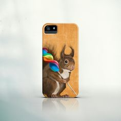 iPhone 6, iPhone 6 Plus, iPhone 5 Case, iPhone 4 Case, Galaxy S5, Galaxy S4 Case - Squirrel with lollipop -pet, gift, smartphone, funny