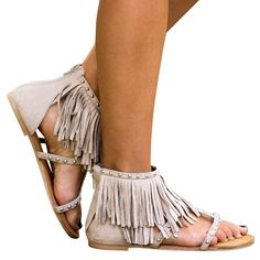 02b0989d491daa Dellytop Womens Fringe Tassals Flip Flops Thong Gladiator Flat Sandals Wrap  Rivet with Zipper Summer Shoes