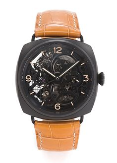 Panerai Ref. RAM348 skeletonized ceramic wristwatch, a limited edition of 30. It features a one-minute, dual-axes tourbillon, a six-day power reserve, a 24-hour indication, two time zones, and a black-coated, stainless steel double-deployant clasp.