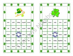 St. Patricks Day Theme-Bingo Game- Sight Words for Grade 3 from Mrs. Mc's Shop on TeachersNotebook.com -  - What a fun-filled way to review Dolch Level 3 Sight Words. This colorful St. Patrick's Day themed Bingo game can be printed on heavy cardstock and laminated to make a lasting reusable game. As an alternative, you can choose to print it on paper and a