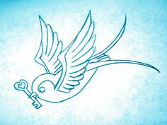 Swallow Key to my Heart 5x7 print Art Birds Love Tattoo Teal Aqua Blue. $6.99, via Etsy.