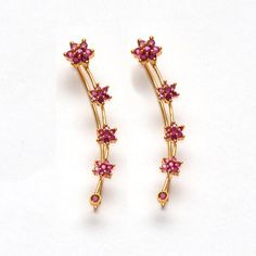 Anvi's floral design rubies ear cuffs