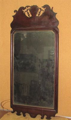 Very RARE American William Mary Cherry Mirror Original Tulip Crest Red Stain           Sold  Ebay   2110.00