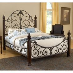 Gastone Wood and Iron Bed by Hillsdale Furniture Iron Furniture, Furniture Styles, Bedroom Furniture, Furniture Design, Furniture Showroom, Bed Sets, Wrought Iron Beds, Steel Bed, Hillsdale Furniture