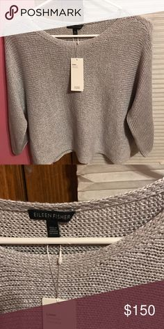 Eileen Fisher Shimmer Linen Blend Sweater Lightweight grey sweater. Never been worn, new with tag. Eileen Fisher Sweaters