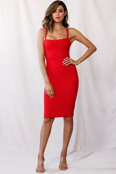 Shop the Georgia Square Neckline Midi Dress Red only at Selfie Leslie! Shop Red Dress, Red Midi Dress, Hot Dress, Elegant Dresses, Sexy Dresses, Fashion Dresses, Midi Dresses, Girls Dresses, Rompers Dressy