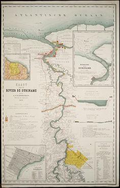 Kaart van de rivier de Suriname (1877)