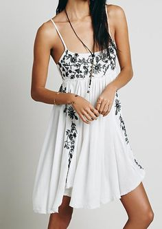 Shop White Spaghetti Strap Embroidered Loose Dress online. SheIn offers White Spaghetti Strap Embroidered Loose Dress & more to fit your fashionable needs.