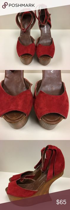 Chinese Laundry Red  Wedges ❤️ Love these! Leather upper. Very Lady Gaga! 🔥In good condition Check pics for wear! 😀❤️💕🔥🔥 Chinese Laundry Shoes Wedges