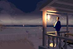 Just beautiful > A Porch light kind of evening by PascalCampion http://www.deviantart.com/art/A-Porch-light-kind-of-evening-546204376?utm_content=buffer50163&utm_medium=social&utm_source=pinterest.com&utm_campaign=buffer #artoftheday #illustration