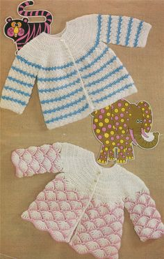 PDF Baby Matinne Coat Crochet Pattern : 2 Designs . Babies 17 and 18 inch chest . 43 and 46 cm . Instant Digital Download by PDFKnittingCrochet on Etsy