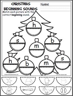 Free Christmas cut and paste beginning sounds activity for the letters m, s, h, b. Check out my Christmas No Prep Pack. View it here.
