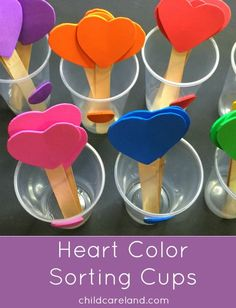 Heart Color Sorting Cups - Heart Color Sorting Cups For Preschool and Kindergarten Color Recognition and Fine Motor Develpment Montessori Materials, Montessori Activities, Color Activities, Cognitive Activities, Sorting Activities, Kindergarten Colors, Preschool Colors, Back To School Crafts, Valentine's Day Crafts For Kids