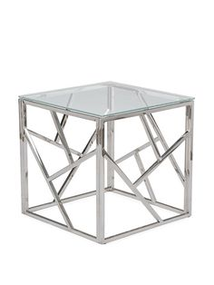 Aero Chrome Glass Side Table   Modern Furniture • Brickell Collection