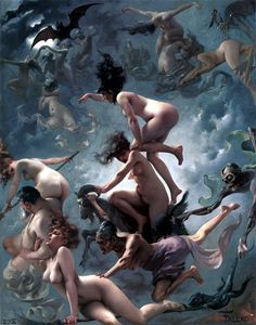 Departure of the Witches by Luis Ricardo Faléro. 1878. April 30 is also known as Walpurgisnacht.