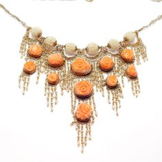 This is an exquisite and rare necklace. All ornate filigree with exceptional details. Hand carved natural coral florettes, filigree work and natural seed pearls! The design is truly unlike anything I've ever seen. | eBay!