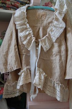 2X Linen Tunic Top Plus Size Wheat Shabby Womens by OfLinenandLace, $85.00