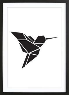 Origami Kolibri - Eulenschnitt - Affiche premium encadrée