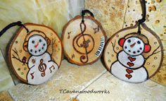 snowman ornaments, wood slice, music note ornament, painted wood slice, snowman art, music gifts, treble clef, tree slice, piano, musician