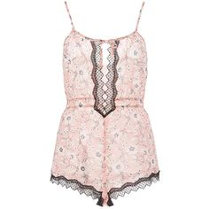 Morgan Lane Marie Karolin Romper ($270) ❤ liked on Polyvore featuring jumpsuits, rompers, floral rompers, lace trim camisole, pink rompers, polka dot romper and playsuit romper