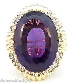 Vintage 20.25CT Fine Oval Amethyst & Diamond Ring 14K Yellow & Rose Gold