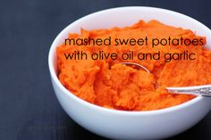 Captain America Week - Mashed Sweet Potatoes with Garlic and Olive Oil - forget the marshmallows. These potatoes are vegan and paleo-friendly, and super yummy. (Also, quite brightly colored. Paleo Recipes, New Recipes, Real Food Recipes, Cooking Recipes, Favorite Recipes, Fish Recipes, Paleo Whole 30, Whole 30 Recipes, Mashed Sweet Potatoes