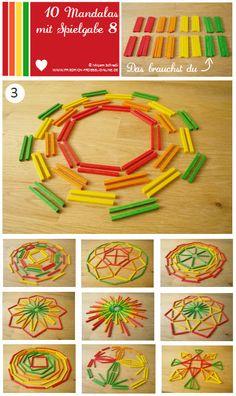 Vorlage Nr. 3 zum Mandala legen mit Kindern mit dem Legespiel Spielgabe 8: http://www.friedrich-froebel-online.de/s-p-i-e-l-g-a-b-e-n/8-legespiel-geometrische-formen/ Legespiele kaufen:  http://www.friedrich-froebel-online.de/shop/