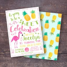 Pineapple Invitation Flamingo Invitation by BloomberryDesigns