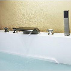 LED Wasserfall Badewanne Wasserhahn mit ausziehbarer Brause ... | {Badewannenarmaturen mit brause 58}