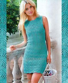 Мини-платье спицами. Описание, схема вязания