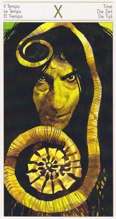 Sergio Toppi - Tarot of the Origins - Wheel of Fortune / Sacred Geometry Wheel Of Fortune Tarot, Tarot Card Decks, Tarot Cards, Le Tarot, Bd Comics, Major Arcana, Illustrations And Posters, Comic Artist, Les Oeuvres