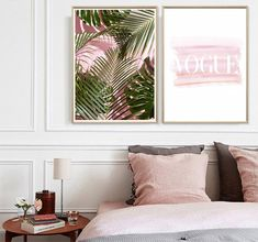 Leaf Wall Art, Pink Wall Art, Leaf Art, Watercolor Canvas, Watercolor Trees, Palm Tree Art, Nordic Art, Decorating With Pictures, Fashion Wall Art