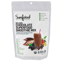 Sunfood, Organic Chocolate Superfood Smoothie Mix, 8 oz (227 g)