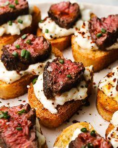 Tostadas, Catering, Best Appetizers, Gourmet Appetizers, Best Appetizer Recipes, Steak Appetizers, Le Diner, How To Cook Steak, Dessert