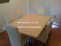 Travertine Dinning Table  www.aysons.com.au Fireplace Hearth, Bbq Area, Dinning Table, Travertine, Granite, Marble, Bench, Furniture, Home Decor