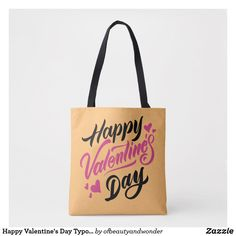 Happy Valentine's Day Typography   Tote Bag Edge Design, Personalized Products, Happy Valentines Day, Typography, Reusable Tote Bags, Elegant, Simple, How To Make, Top