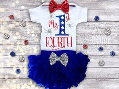 1st 4th of July Outfit July 4th Baby Girl by BabySquishyCheeks Perfect for 4th of july Photos!