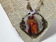 Horse Angel Watch Crystal Pendant Necklace