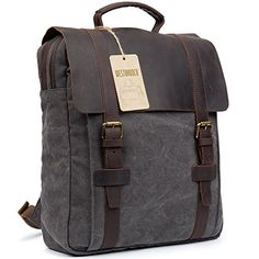 WESTBRONCO Canvas Real Leather Backpack Vintage Casual School Bag Retro Unisex Travel Rucksack Grey - About WESTBRONCO WESTBRONCO is a men brand focusing on offering leisure, unique, wild, and outdoor activities leather products. We have our own manufacture base to guarantee the quality of products. With continuous efforts, we are now the leading manufacturer which is specialized in genuine leath...