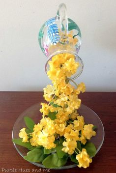 Create the look of flowers flowing from a pitcher into a plate with this easy DIY technique