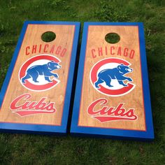 Chicago Cubs Custom Cornhole Boards on Stained Wood from Great Lakes Cornhole