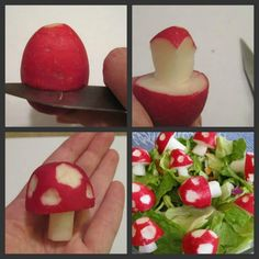 Radish Mushrooms - Slice carefully a radish around diameter. Chip away at edges until you form a stem. Slice downwards to center cut ...it is 4 slices. Shave dots on mushroom head. Add to your salad or use on a veggie dip tray.