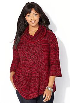 Fashion Plus Size Womens Cowlneck Spacedye A-line Pullover www.fashionbug.us #plussize 1X 2X 3X 4X 5X 6X