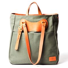 The Ruc Tote in olive canvas with tan trim by jpanther
