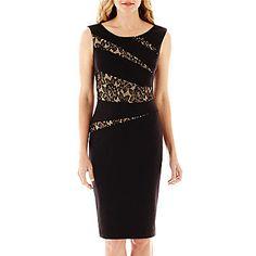 jcp | Black Label by Evan-Picone Sleeveless Lace Appliqué Sheath Dress